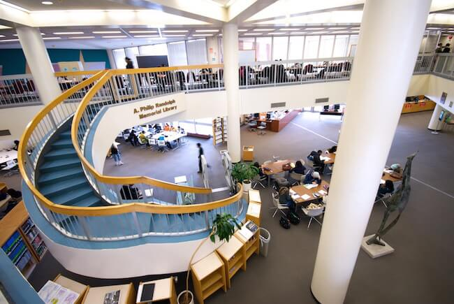 The library at Borough of Manhattan Community College, one of the schools MacKenzie Scott donated her wealth to. (Credit: BMCC)